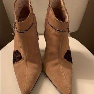 Women's Boots tan patch work booties